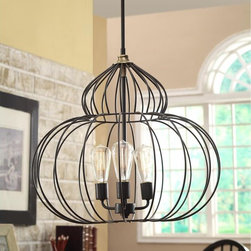 None - Renate Mushroom Chandelier - Add a touch of light to your indoor space with this lovely chandelier. A three-light design highlights this distressed black chandelier.