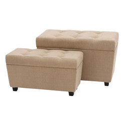 "Benzara - Burlap Ottoman with Rectangular Design - Set of 2 - Are you looking for a perfect resting ottoman for your room ?. This wood burlap ottoman is just what you need. This great wood burlap ottoman is embraced to perfection with light cream toned linen on all sides. It has a carefully cushioned top to ensure utmost comfort while sitting. Long and rectangular flat design offers maximum comfort. Place it in your living room or in any other corner of your home or office. This is the perfect seating idea for that extra guest at your place looking for a comfortable sitting place when your regular sofa gets occupied. It will really impress your guests with your choice of ottoman. This excellent oversized ottoman is created using high quality wood material to offer a sturdy, durable and long life..; Long and rectangular flat design for maximum comfort; Cushioned on top for comfortable seating; Complements traditional and modern decor; High quality wood construction; Weight: 41.9 lbs; Dimensions:31""W x 16""D x 20""H28""W x 12""D x 15""H"