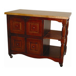 Sunset Trading - 44 in. Eco-Friendly Kitchen Cart - Two large open shelves. Butcher block style. Four deep pass-through drawers that open from either side. Base in antique black. Top and knobs in cherry. Warranty: One year. Made from eco-friendly Malaysian oak. Nutmeg and light oak finish. No assembly required. 44 in. W x 24 in. D x 36 in. H (145 lbs.)This beautifully designed furniture supplied by Sunset Trading  will assure you many years of use and enjoyment. Identical finishing on either side of the cart for optimum placement in your home. Add a touch of country comfort to your kitchen with this versatile and generously appointed kitchen cart from the Sunset Trading - Sunset Selections Collection. Perfect for preparing family meals or serving drinks and appetizers when entertaining guests. Family and friends will be sure to gather around this cozy and inviting kitchen centerpiece. Big on style, workspace and storage this versatile design is certain to be welcome focal point in the hearth of your home for years to come!