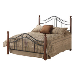 Hillsdale - Hillsdale Madison Metal Poster Bed in Black-Twin - Hillsdale - Beds - 1010BTWR - An intriguing combination of sturdy hardwood posts and wrought-iron scroll work makes this bed a contemporary classic turning any room into a restful sanctuary. Sturdy and secure the calming design of the Madison features a lustrous cherry wood finish to warm up your decor.
