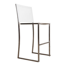 Harbour Outdoor - Soho Barstool - A modern, minimalist design, but not without its own subtle, trendy flair, much like its namesake neighborhood, the Soho Barstool by Harbour Outdoor brings the sophistication and trendsetting style of Manhattan to your outdoor space. The modern, clean, stainless steel frame is brilliant in its minimalism, with slight curves on the back legs and front seat frame giving the modern barstool an added element of refined style. The Ferrari of France designed Batyline mesh seat and back (available in different colors) ensures that your modern barstool will look good outdoors year round, with its colorfast, quickdrying, tear and sag, UV, and mold resistant fabric.