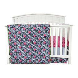 """Trend Lab - Lucy - 3 Piece Crib Bedding Set - Swirling flowers add a delicate girly charm to your little girl's nursery. Trend Lab's Lucy 3-Piece Crib Bedding Set features an oversized swirling floral print mixed with a charming mini floral and nautical stripe print in navy blue, magenta pink, foliage green, opal gray and crisp white. Lucy is a refreshing update to the classic floral nursery. Reversible Quilt measures 35"""" x 45"""" and features a swirling floral print on the front and a mini floral print on the back with a foliage green binding complementing both prints that are featured in the fashionable color palette of navy blue, magenta pink, foliage green, opal gray and white. Fitted Crib Sheet features a magenta based mini floral print in navy blue, foliage green and white printed on soft 100% cotton. Crib sheet fits a standard 52"""" x 28"""" crib mattress and features 8"""" deep pockets with elastic surrounding the entire opening ensuring a more secure fit. Crib Skirt with 15"""" drop features a navy blue and white nautical stripe paired with a swirling floral print trim in navy blue, magenta pink, foliage green, opal gray and white. Coordinating Lucy Crib Bumpers and room accessories by Trend Lab are available for separate purchase."""