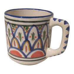 Le Souk Ceramique - Tabarka Coffee Mug - Set of 4. 12 Fluid Ounces. Hand Made . Dishwasher safe . Microwave safe . Made in Tunisia. Lead free glazes . Meets CA Prop 65 . Meets all Federal StandardsNamed in part for the beautiful Tunisian seaside resort town of Tabarka where the red tile roofs of the Mediterranean beach bungalows dot the coastline, our Tabarka pattern is an elaborate blend of Italian, French and Arabic styles that throughout history have also shaped it's namesake city. Shades of fire red, goldenrod, grass green and cobalt blue are set against a white background creating a sumptuous and vibrant pattern perfect for any occasion.