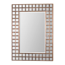 "Uttermost - Uttermost 7063 Keely Mirror Mosaic in Oxidized Copper Mirror - 47"" Length - Numerous Beveled Mirrors Inlaid into Wood Frame"