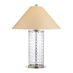 Hudson Valley - Hudson Valley L536-PN-WS 1 Light Medium Table Lamp WiShelby Collection - Lively and effervescent, Shelby's modish array of hand-cut concave circles showcases the glamour of mid-century design.  The crystal-clear glass column is capped by a sharply sloped shade, giving an Eastern contrast to the glass body's youthful exuberance