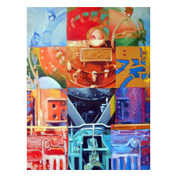 """Train Of Many Colors, Original, Painting - """"Inspired by psychedelia, this painting contrasts the strength and dynamism of the train with the ephemral lightness of color."""""""