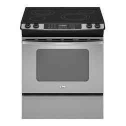 """Whirlpool - GY399LXUS Gold Series 30"""" Slide-In Electric Range With 4 Radiant Burners  4.5 Cu - With 4 burners and a 45 cu ft capacity oven this slide-in range provides plenty of cooking options The AccuBake heat distribution system envelops foods in even and consistent heat to ensure thorough cookingThis slide-in range offers cooktop flexibili..."""