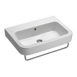 GSI - Curved Rectangular Ceramic Wall Mounted Sink, One Faucet Hole - Beautiful stylish modern and contemporary curved rectangular wall mounted bathroom sink. This sink is made out of the highest quality ceramic with a white finish. Sink includes overflow and the option for no faucet holes, one hole, or three holes. Made in Italy by GSI.