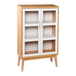 Natural Oak Double Door Cabinet - Honey colored natural oak is paired with a bright white finish to create a gorgeous cabinet that can be used for anything from plates to linens. Flared legs create mid-century modern charm, giving just the right amount of flair to this simply divine cabinet.