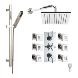 "Hudson Reed - Tec Thermostatic Shower System With 8"" Rain Head Curved Arm Handset Kit & 6 Jets - The Hudson Reed Tec Thermostatic Triple Shower Valve (3 Outlet) features lever and cross head controls for fingertip control. Constructed from brass and with modern ceramic disc technology, this chrome finish minimalist shower valve supplies water to either the fixed shower head, a handset or 6 body jets. Safety comes as standard with a pre-set maximum temperature and an anti-scald device. It is possible to use the shower head simultaneously with a handset or body jets, but this may reduce the flow of water to both functions."
