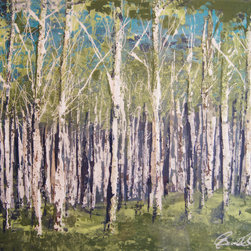 Aspens - 30x20 resin on board with mixed mediums