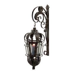 "IMAX - Balfour Lantern with Bracket - Elegant wrought iron lantern with wall bracket.  Item Dimensions: (40""h x 11""w x 18"")"
