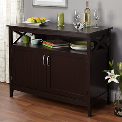 Simple Living - Simple Living Southport Espresso Dining Buffet - The Southport espresso dining buffet is not only an attractive addition to your dining space but it has ample storage and an open shelf for displaying your favorite china or cook books.