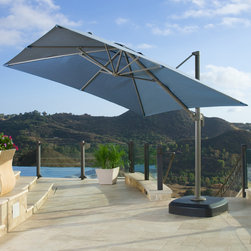 Portofino™ 10ft Resort Umbrella in Newport Blue - The Portofino Signature Resort Full Motion Articulating Umbrella is a state of the art structure featuring a huge 10' x 10' square canopy area providing over 100 sq ft of shade. Our patented design offers a unique choice in patio umbrellas that combines quality, value and style to enliven your outdoor space. Beat the sun while staying in the shade for an ultimate backyard experience.