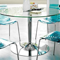 Calligaris - Planet Round Top Dining Table (Transparent Gl - Choose Glass Top: Transparent GlassChromed base. Features a round top that seats all guests comfortably even when numbers are odd. It rests on a pedestal base fitted with a weighted metal base plate. Assembly required. 47.25 in. W x 47.25 in. D x 29.625 in. H
