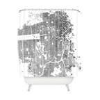 DENY Designs - CityFabric Inc San Francisco White Shower Curtain - You may just leave your heart in the streets over this San Francisco treat. The city street map image is custom printed on woven polyester and machine washable for maximum fun and impact.