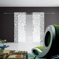 Twin Glass Sliding Door - Twin Sliding door with  cracked design