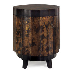iMax - Gold and Black Table - This faceted round table features a rich gold and black finish and opens to reveal two shelves for storage.