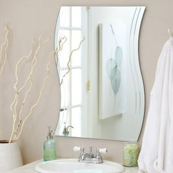 Frameless Wave Wall Mirror - 22W x 29.5H in. - Bring contemporary elegance to your home with the Frameless Wave Wall Mirror. This uniquely shaped mirror is sure to add a stunning element to any wall in your home. Constructed of metal and strong 3/16 glass it features V-grooved cut designs for added interest. Mounting hardware is included with the mirror. Weighs 12 pounds. Dimensions: 29.5L x 22W x .5D inches.