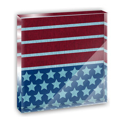 """Made on Terra - America Patriotism Mini Desk Plaque and Paperweight - You glance over at your miniature acrylic plaque and your spirits are instantly lifted. It's just too cute! From it's petite size to the unique design, it's the perfect punctuation for your shelf or desk, depending on where you want to place it at that moment. At this moment, it's standing up on its own, but you know it also looks great flat on a desk as a paper weight. Choose from Made on Terra's many wonderful acrylic decorations. Measures approximately 4"""" width x 4"""" in length x 1/2"""" in depth. Made of acrylic. Artwork is printed on the back for a cool effect. Self-standing."""