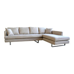 Wholesale Interiors - Baxton Studio Fabric Sectional Sofa and Chais - Includes Sofa and Chaise. Hardwood frame with stainless steel legs and plush cushions. Cushions are stuffed with medium firmness foam. Made of Fabric. Sofa:74.5 in. W x 33 in. L x 33.5 in. H. Arm: 25 in. HAdds function and contemporary style to your home furniture collection. Constructed of a durable hardwood frame. Elegant microfiber removable covers blends with any home decor. Lateral rubber spring support system and high density foam cushioning. Back has a sturdy rubber lattice support. This Wholesale Interiors sofa set is great for curling up in front of a fire or enjoying cocktails with friends. The perfect combination of quality craftsmanship with simple and sophisticated designs, will instantly enhance your living space. If you are looking for a quality product which speaks of style and glamour without being too loud, then this is the perfect choice.  Set comes with a sofa and chaise.