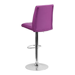 Flash Furniture - Flash Furniture Barstools Residential Barstools X-GG-RUP-090221-HC - This sleek dual purpose stool easily adjusts from counter to bar height. The simple design allows it to seamlessly accent any area in the home. Not only is this stool stylish, but very comfortable to provide you with an amazing sitting experience! The easy to clean vinyl upholstery is an added bonus when stool is used regularly. The height adjustable swivel seat adjusts from counter to bar height with the handle located below the seat. The chrome footrest supports your feet while also providing a contemporary chic design. [CH-122090-PUR-GG]