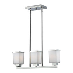Z-Lite - Z-Lite Affinia Kitchen Island / Billiard X-3-206 - This three light island light creates the ultimate clean and modern look with its sleek chrome finish and quadrilateral matte opal shades. With matching trim and adjustable rods, this fixture will create the ultimate modern look in any kitchen.
