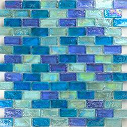 """Glass Tile Oasis - Light Blue Blend Uniform Brick Green Bricks Glossy and Iridescent Glass - Sheet size: 11 7/8"""" x 11 7/8"""""""