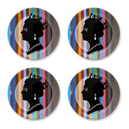 Naked Decor - British Queen Dessert Plates, Set of 4 - You don't have to bust out the fine china to eat like a royal. Pay homage to the queen with a set of playful melamine dessert plates. The colorful palette brings personality and style to your table. It's just waiting for a slice of your favorite sweet treat.