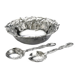 Arthur Court - Butterfly 3 Piece Salad Set - So cool. This sand-cast aluminum salad bowl can go into the refrigerator hours before the meal, and come to the table looking as beautiful as ever. And when the meal is over, simply wash with soap and water. After that, it's your time to kick back and chill.