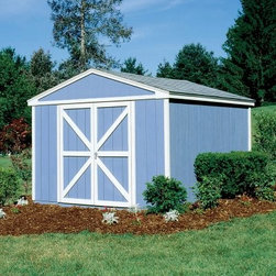Handy Home Somerset Storage Shed - 10 x 10 ft. - Your garage and your closets are about to breathe a sigh of relief when you bring home the Handy Home Somerset Storage Shed - 10 x 10 ft. Inside a structure of solid wood, you'll have 6-foot high walls with a tall peak of 8 feet to fill with your outdoor supplies and off-road vehicles. The exterior of this building is pre-primed and ready for paint, and the interior can be purchased with or without a floor, depending on your needs. The pre-hung double doors, with an opening of 64W x 72H inches, are wide enough to accommodate most yard equipment and small vehicles, and can be hung centered or offset as necessary. All the necessary hardware and assembly instructions are included.About Handy HomeSince 1978, Handy Home has been making it easy and affordable for their customers to add storage sheds, gazebos and playhouses to their homes. As North America's largest producer of wooden storage and recreational building kits, Handy Home makes durable structures that require no sawing or drilling and can be delivered when and where their customers need them.