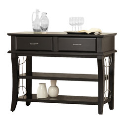 Steve Silver Furniture - Steve Silver Cayman Server in Black - Server in Black belongs to Cayman Collection by Steve Silver The Cayman server is modern and contemporary with a look that demands attention. The server features metal scroll work, two drawers and two open shelves for your entertaining needs.  Server (1)
