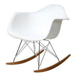 Molded Plastic Rocking Chair In White - This take on a modern classic is both useful and cool.