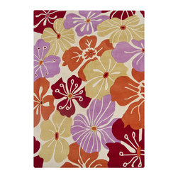 Mandara - Hand-Tufted Mandara Multicolored Floral Pattern Wool Rug (7' x 10') - An eye-catching geometric design highlights this Mandara rug. This thick and plush rug is hand-tufted in India using premium quality wool. Area rug features floral design in shades of purple,red,orange and whet yellow against off-white background.