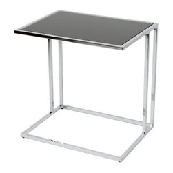 Marry Side Table - Snuggle the Marry Side Table up to your couch. This side table has an open design that makes it perfect for any room. Its open C frame is made of polished chrome steel and it's crowned with a black tempered glass top. About Whiteline:With a product line that includes prime leather sofas, comfortable beds, and elegant dining room furniture, Whiteline delivers modern and contemporary styles along with cozy comfort. Whiteline has 15 years of experience building furniture, along with a worldwide network of skilled manufacturers to help them give you the best value for your money. And their huge collection of designs is sure to have something to suit your contemporary tastes.