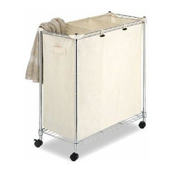 """Whitmor - Supreme Laundry Sorter - Whitmor Supreme Laundry Sorter - Dimensions: 14"""" x 29.88"""" x 31.75"""" - Heavy duty construction.  100% Cotton canvas bag.  Locking wheels included.  This item cannot be shipped to APO/FPO addresses. Please accept our apologies."""