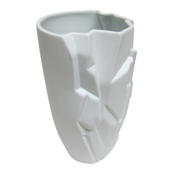 Bahari - Porcelain Glacia Vase - Porcelain Glacia Vase.  Glacier pattern on one side and smooth surface on the other create a contrast of the glacier movement.