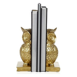 Owl Bookends - Owls always make me think of fall. I love the color and style of these bookends.