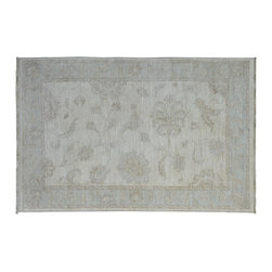 Oushak Vegetable Dyes Rug, 4'X6' Hand Knotted Stone Wash 100% Wool Rug SH9016 - Hand Knotted Oushak & Peshawar Rugs are highly demanded by interior designers.  They are known for their soft & subtle appearance.  They are composed of 100% hand spun wool as well as natural & vegetable dyes. The whole color concept of these rugs is earth tones.