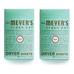 Mrs. Meyer's - Mrs. Meyer's Dryer Sheets - Basil - Case Of 12 - 80 Sheets - Mrs. Meyer's Clean Day Basil Dryer Sheets reduce static, soften and add a bit of garden-freshness. These dryer sheets contain a vegetable-derived softening agent and natural essential oils on a biodegradable paper sheet. The formula is made from 99% naturally derived ingredients like parsley seed oil and orange peel oil. Pull sheet apart at perforation to reduce risk of blocking dryer vent and toss both unfolded sides into the dryer with your wet clothes. Tumble clothes until dry; then enjoy your fresh, garden-kissed clothes. Mrs. Meyer's Clean Day Dryer Sheets is hard working, biodegradable, and environmentally friendly.