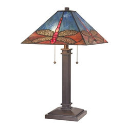 Design Classics Lighting - Dragonfly Table Lamp with Tiffany Glass Shade - 1631 BZ - Bronze table lamp with two lights and a Tiffany glass shade with dragonflies motif. Lights are operated by two pull-chains. Takes (2) 60-watt incandescent A19 bulb(s). Bulb(s) sold separately. UL listed. Dry location rated.