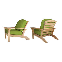 Douglas Nance - Set of 2, Douglas Nance Augusta Deep Seating Club Chairs, Parrot - Douglas Nance Augusta is a leap away from the ordinary. This collection combines the Americana feel of an Adirondack chair with the grand comfort and style of fine teak deep seating furniture - and it reclines! Includes made-to-order Sunbrella cushion.