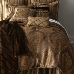"Sherry Kline Home Collection - Sherry Kline Home Collection Queen Comforter, 92"" x 96"" - Luxurious chocolate tones, touches of silk and faux-fur, and regal trimmings like tassels, cording, and gimp make this bedding collection undeniably opulent. Made in the USA of imported polyester, silk, and cotton fabrics by Sherry Kline Home Collection..."