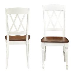 Home Styles - Home Styles Monarch Double X-back Dining Chairs in White and Oak - Home Styles - Dining Chairs - 5020802 - The Monarch Double X-back Dining Chairs by Home Styles blends upscale design with functionality.