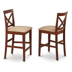 "East West Furniture - X in Back Stool with Seat in Dark Brown Finish - Set of 2 - X-Back stool with upholstered seat in Dark Brown finish; The Pub Set has contemporary styling to complement any decor.; This dinette is ideal for a small kitchen or dining area.; It has durable construction with Asian solid wood, available in two lovely finishes -- oak or rich brown.; The counter-height stools feature attractive X-backs with a choice of wood seats or neutral-colored, upholstered seats.; Weight: 38 lbs; Dimensions: 18""L x 17""W x 41.5""H"