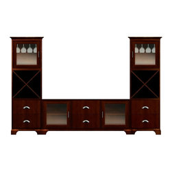 Howard Miller Custom - Owen Cabinet w 6 Panel Drawers in Newport Cherry - This cabinet is finished in Newport cherry on select Hardwoods and Veneers, with Nickel hardware. Console:. 2 doors with plain Glass and 2 flat panel drawers. 2 adjustable interior shelves. Tower:. 2 doors with plain Glass and 4 flat panel drawers. 2 cross storage shelves and 2 stemware racks. Cove profile top and cove profile base. Hardware: bar pulls on doors and cup pulls on drawers. Features soft-close doors, metal drawer glides, and metal shelf clips. Simple assembly required. Console: 70 1/4 in. W x 22 1/4 in. D x 29 1/2 in. H. Tower: 27 1/4 in. W x 17 in. D x 78 1/2 in. H