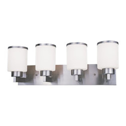 Z-Lite - Z-Lite Cosmopolitan Bathroom Light X-NB-V4-213 - For a cutting edge modern fixture, look no further than this four light vanity. Milk white shades are complimented with brushed nickel bands, and accented with a modern styled wall mount.