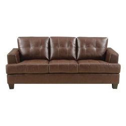"Coaster - Sofa (Dark Brown) By Coaster - The Samuel collection offers style and comfort with its clean lines and attached seat cushions. The only way to truly appreciate this collection is to sit and experience it. Weight: 136.40 pounds. Some assembly may be required. Please see product details. Dims: 85""X 38"" X 36"". Constructed of bonded leather. Matching pieces available separately."