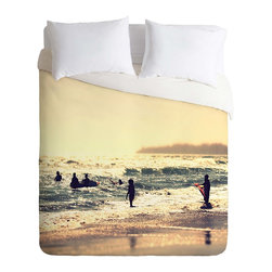 DENY Designs - DENY Designs Shannon Clark Sunset Surfers Duvet Cover - Lightweight - Turn your basic, boring down comforter into the super stylish focal point of your bedroom. Our Lightweight Duvet is made from an ultra soft, lightweight woven polyester, ivory-colored top with a 100% polyester, ivory-colored bottom. They include a hidden zipper with interior corner ties to secure your comforter. It is comfy, fade-resistant, machine washable and custom printed for each and every customer. If you're looking for a heavier duvet option, be sure to check out our Luxe Duvets!