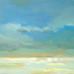 """Midday Glare (Original) by Fay Wyles - This contemporary seascape features the bright yellow glare of the sunlit sea played against pleasing blue sky tones. Riding my bike along the Southern California coast, I was struck by the blinding sunlight on the sea, contrasting against the blue sky. Thus, this painting, """"Midday Glare"""", was born. Most of my paintings are inspired by the outdoors and painted in the studio, or they are painted on-site ('en plein air', as the french say). It is painted with high quality oil paint on a solid hand-crafted wood panel. Image wraps around all four sides and eliminates the need for framing. It has a nice substantial look and sculptural feel. Looks excellent hanging alone on a small wall, or for a fun and interesting wall presentation on a large wall, buy multiples and create your own unique wall design."""